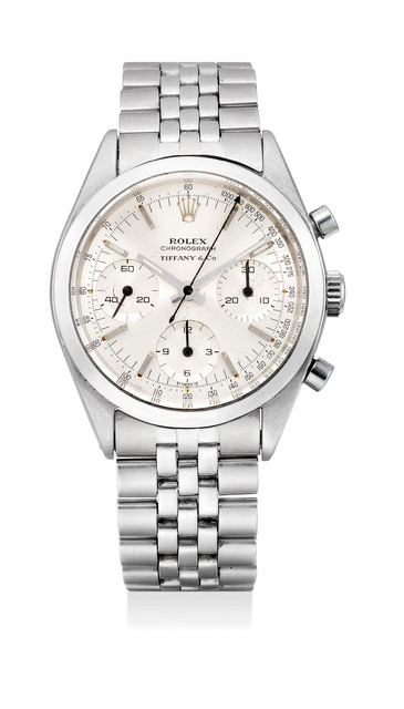 Rolex, 'A fine and extremely rare stainless steel chronograph wristwatch with bracelet, retailed by Tiffany & Co.', Circa 1964, Phillips