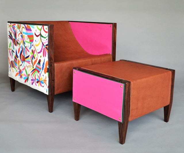 , 'Camp Club Chair & Ottoman, Special Edition Otomi, Multi, Claro Walnut,' , blankblank