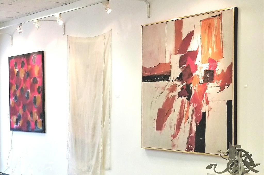 "From left: Kenneth Victor Young, Untitled c. 1969, acrylic on canvas, 54"" x 53""; Robert Rauschenberg, ""Scent (from Hoarfrost Editions)"" 1974, offset lithograph and transfers in color on silk taffeta with collage, 86"" x 50""; Kyle Morris, Untitled 1960, acrylic on canvas, 60"" x 60"""