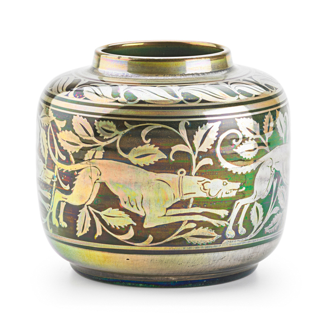 William S. Mycock, 'Pilkington, Small Royal Lancastrian Vase With Greyhounds , England', 1911, Design/Decorative Art, Rago/Wright