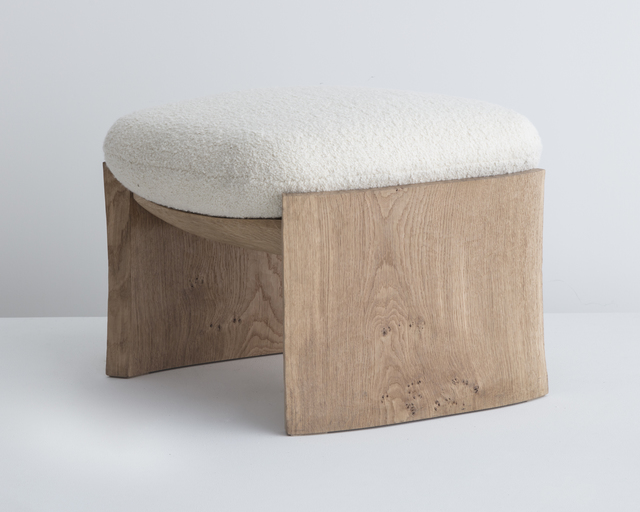 """, '""""MAD"""" Stool. Made to Order by Pierre Yovanovitch, Paris. Hand-carved oak. Upholstered by Ateliers Jouffre, Lyon. Illustrated with linen fabric designed by Maison AD. Designed 2017, this example produced in 2018.,' 2018, R & Company"""