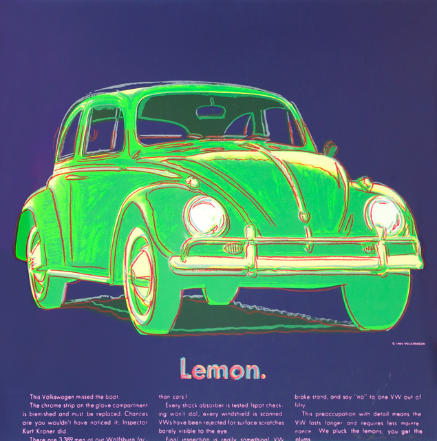 Andy Warhol, 'Volkswagen', 1985, Print, Screenprint, David Benrimon Fine Art