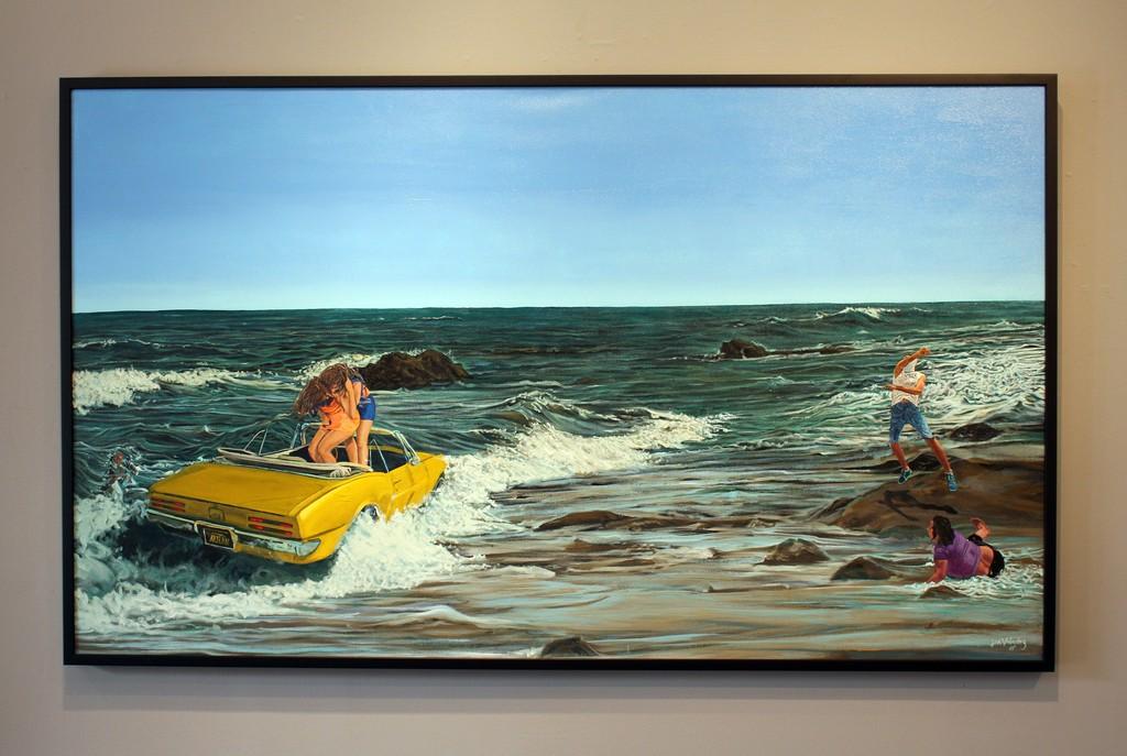 John Valadez Drowning the Firebird, 2014 Acrylic on canvas 47 x 78 inches