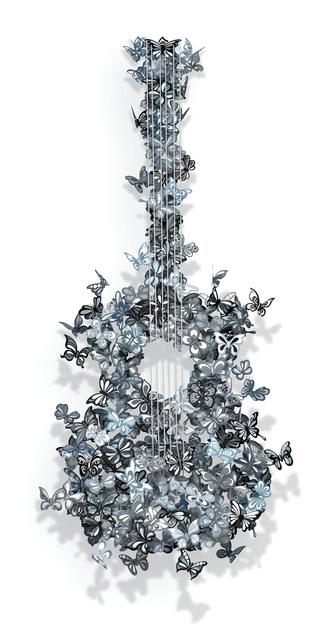, 'Butterflies Guitar (Black and White),' 2016, Eden Fine Art