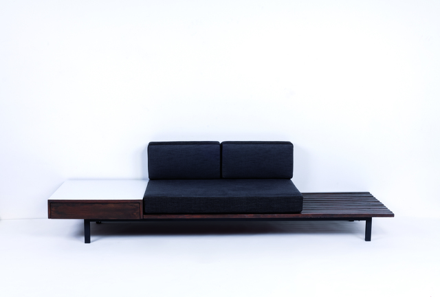 Charlotte Perriand, 'Bench with drawers in metal, laminated wood, mahogany and fabric', 1958, Leclere
