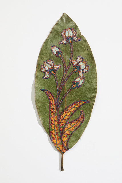Hillary Waters Fayle, 'Blooms For Grace 2', 2020, Mixed Media, Embroidered magnolia leaf. Framed, Hashimoto Contemporary