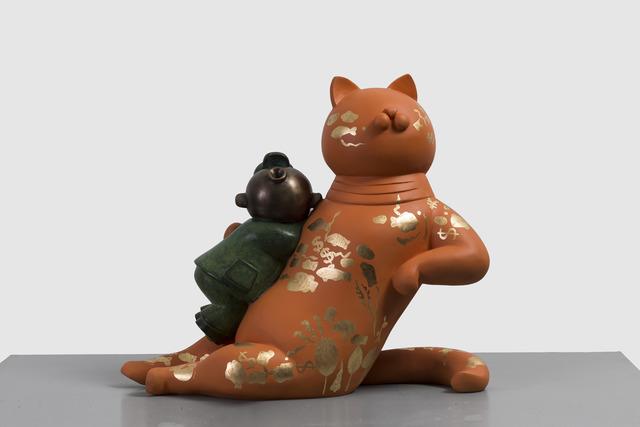 Jiang Shuo 蒋朔, 'Orange Cat - Ocean 桔猫 – 海洋', 2018, Sculpture, Bronze, gold leaf and lacquer 青铜,金箔,大漆, Linda Gallery