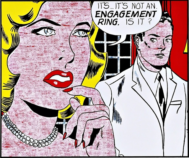 Roy Lichtenstein, 'The Engagement Ring 1961 for Art Basel', 1987, Print, Color Offset Lithograph for Art Basel, mounted and unframed, Alpha 137 Gallery Gallery Auction