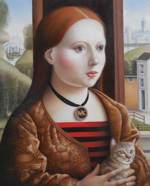 , 'Young Woman with Cat,' 2017, Lois Lambert Gallery