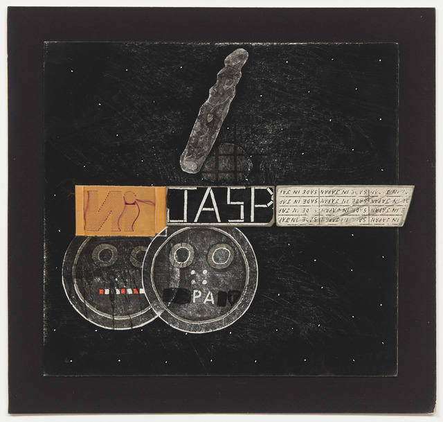 "Ray Johnson, 'Untitled (Jasp w/ orange ""IN"" label & Buttons)', 1982-1988, DICKINSON"