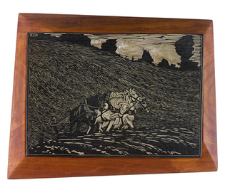 "Wharton Esherick, '""Breaking the Young Colts"" Woodblock,' 1923, Sotheby's: Important Design"