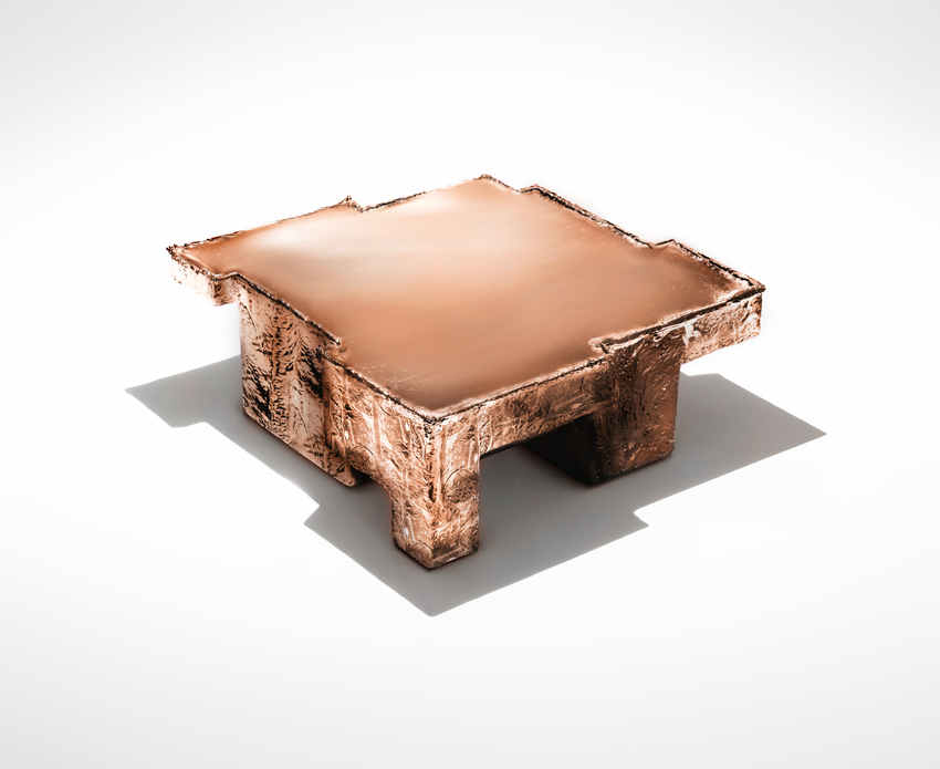 'Metal Fossil Copper coffee table'