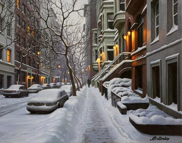 , 'New York Brownstones,' , LaMantia Fine Art Inc.