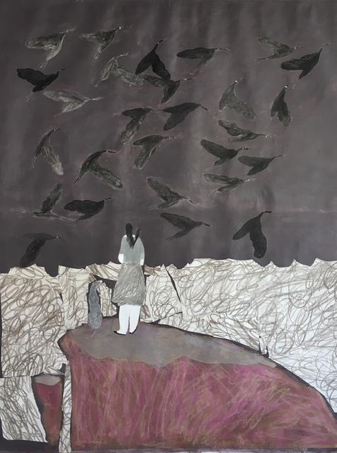 , 'Bird Dog, Girl, and Geese/ Violet Cliffs,' 2018, Emmanuelle G Gallery