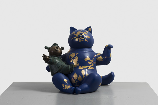 Jiang Shuo 蒋朔, 'Blue Cat - Land and River 蓝猫 - 陆地与河流 ', 2018, Sculpture, Bronze, gold leaf and lacquer 青铜,金箔,大漆, Linda Gallery