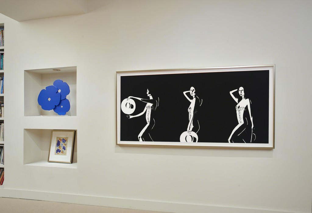 Donald Sultan, Blue Poppies. Matt Phillips, Out of Nowhere. Katz, Ariel. installation at Meyerovich Gallery, San Francisco.