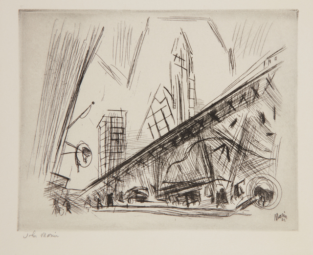 John Marin (1870-1953), 'Downtown, the El', 1921, Print, Etching, on wove paper, with full margins, a fine, rich impression, with selectively wiped platetone, Phillips
