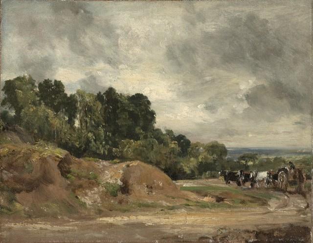 , 'Sandbanks and a Cart and Horses on Hampstead Heath,' 1820-1825, Clark Art Institute