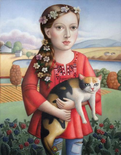 , 'Young Woman with Cat,' 2018, Front Room Gallery