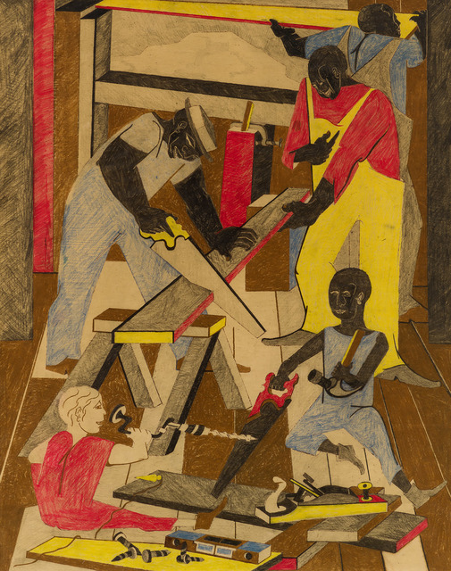 Jacob Lawrence, 'Workshop (Builders I)', 1972, Drawing, Collage or other Work on Paper, Crayon and graphite on paper, DC Moore Gallery