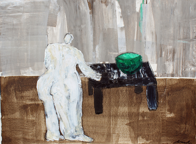 Laura Dargan, 'Lady with Bowl', Painting, Acrylic and charcoal on paper, framed, Miller Gallery Charleston