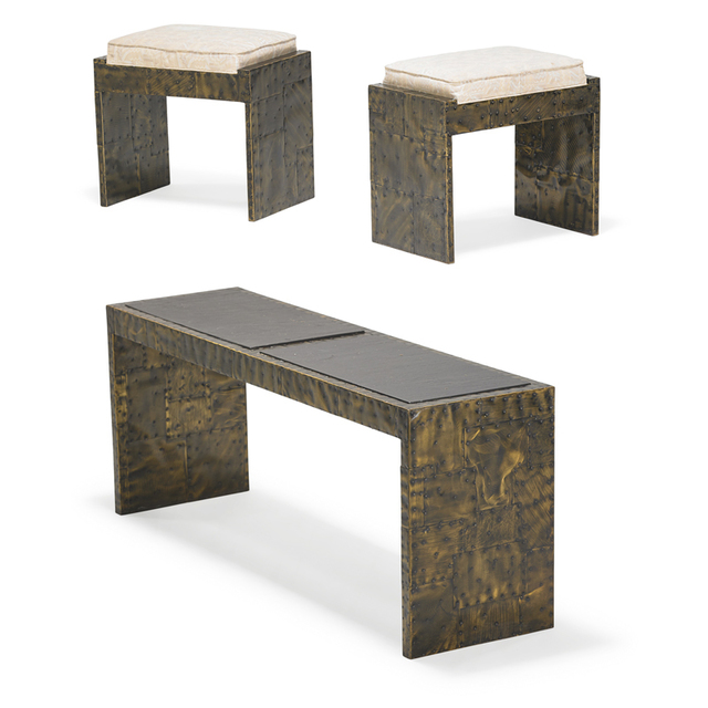 Paul Evans, 'Patchwork console table and pair of Patchwork benches, USA', 1970s, Rago