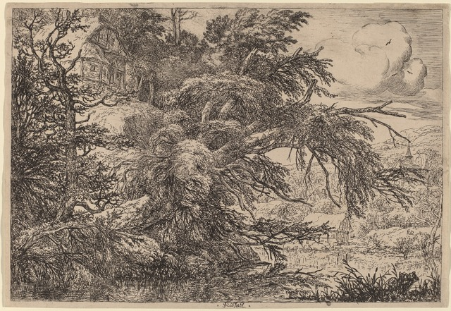 Jacob van Ruisdael, 'Cottage on a Hill', National Gallery of Art, Washington, D.C.