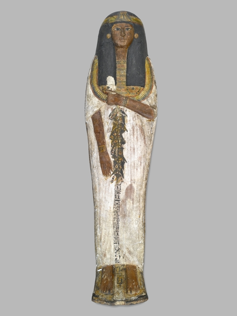 , 'Coffin of the Lady of the House, Weretwahset, Reinscribed for Bensuipet Containing Face Mask and Openwork Body Covering,' ca. 1292 BCE, Brooklyn Museum