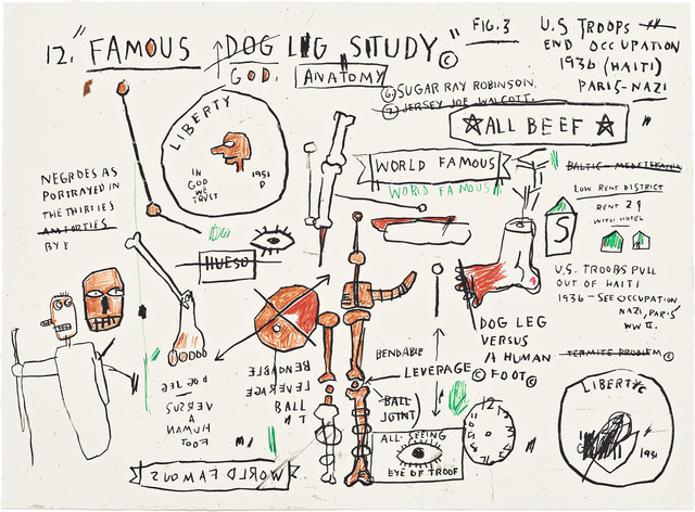 Jean-Michel Basquiat, 'Wolf Sausage, King Brand, Dog Leg Study and Undiscovered Genius', 1982-83/2019, Corridor Contemporary