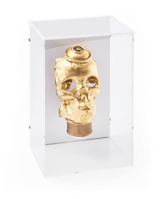 Beejoir, 'Gold Skull', 2008, Sculpture, Crushed aluminium spray can skull with applied gold leaf, Tate Ward Auctions
