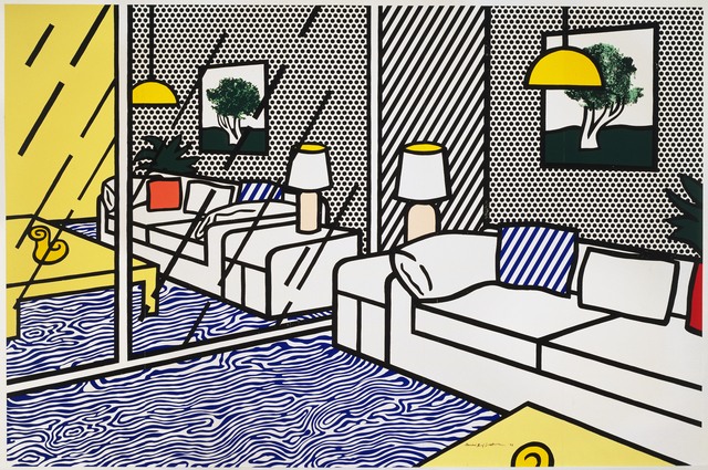 Roy Lichtenstein, 'Wallpaper with Blue Floor Interior', 1992, Print, Screenprint on Paper Technologies, Inc., Waterleaf paper in five panels, Andipa