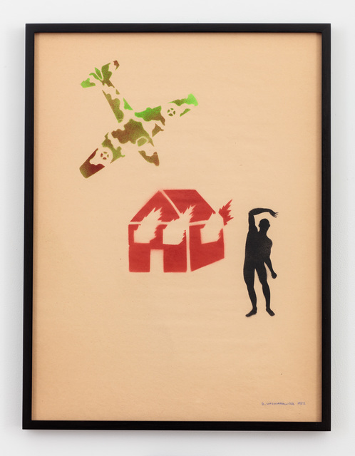 , 'Untitled (Burning House with Camouflaged Plane and Figure),' 1982, P.P.O.W