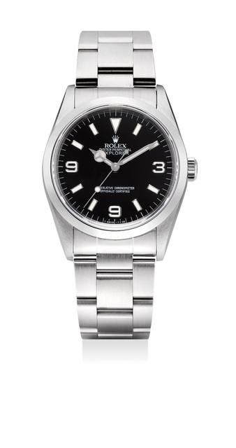 """Rolex, 'A rare stainless steel wristwatch with """"inverted 6"""", center seconds, bracelet, guarantee, box and hang tags', Circa 1996, Phillips"""