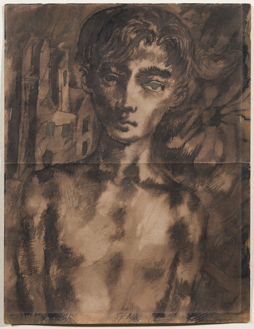 , 'Portrait with building in ruins beyond,' ca. 1942, Osborne Samuel