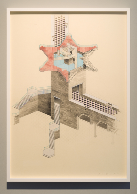 Charles Avery, 'Untitled (Axonometric view of concave station, Onomatopoeia City Wall)', 2019, Ingleby Gallery