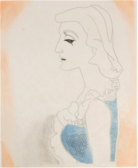 Man Ray, 'Tony, from the suite, Ballade des Dames Hors du Temps,', 1970, Print, Color etching with aquatint, Joseph Grossman Fine Art Gallery