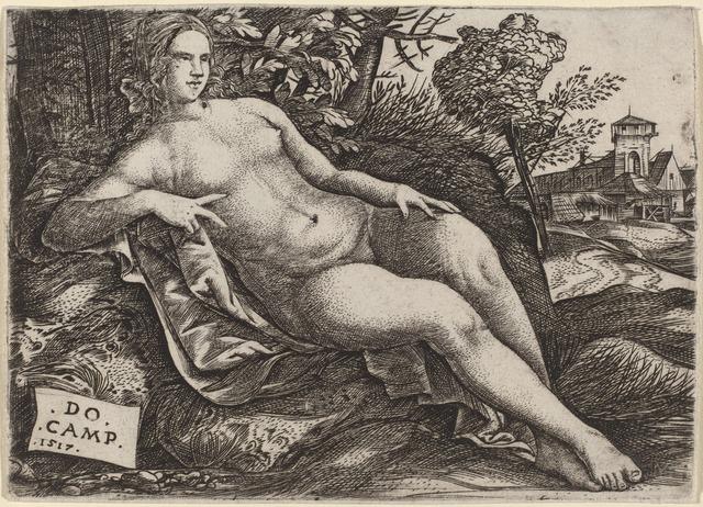 Domenico Campagnola, 'Venus Reclining in a Landscape', 1517, Print, Engraving, National Gallery of Art, Washington, D.C.