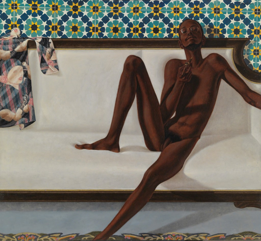 "Barkley L HENDRICKS ""Family Jules: NNN(No Naked Niggahs)"", 1974, oil paint on linen, Tate: Lent by the American Fund for the Tate Gallery, courtesy of the North American Acquisitions Committee 2011 image © Tate, London2017 ©Estate of Barkley L. Hendricks. Courtesy of Jack Shainman Gallery, New York"