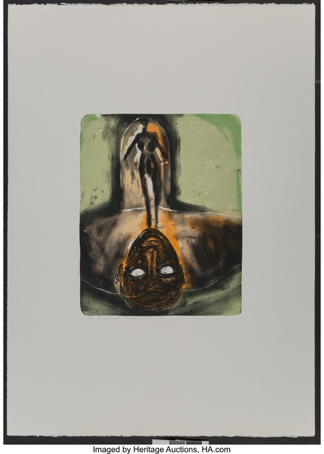 Francesco Clemente, 'Self Portrait in Red and Green', c. 1980, Print, Lithograph in colors on Arches paper, with full margins, Heritage Auctions