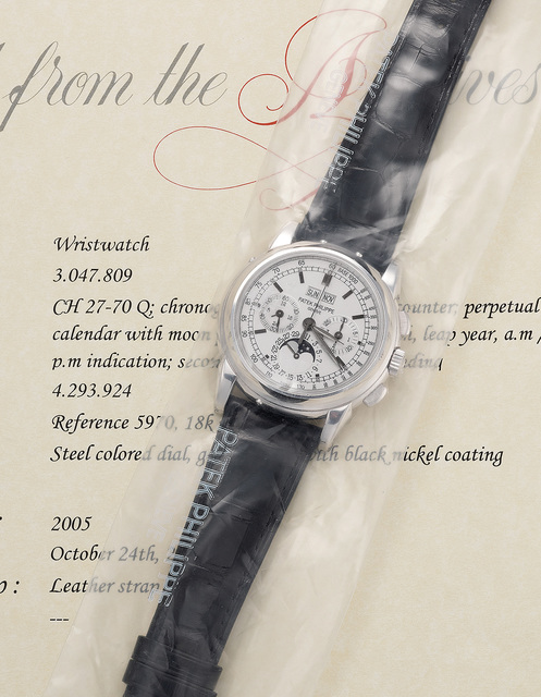 Patek Philippe, 'A very fine and attractive white gold perpetual calendar chronograph wristwatch with moon phases', 2005, Phillips