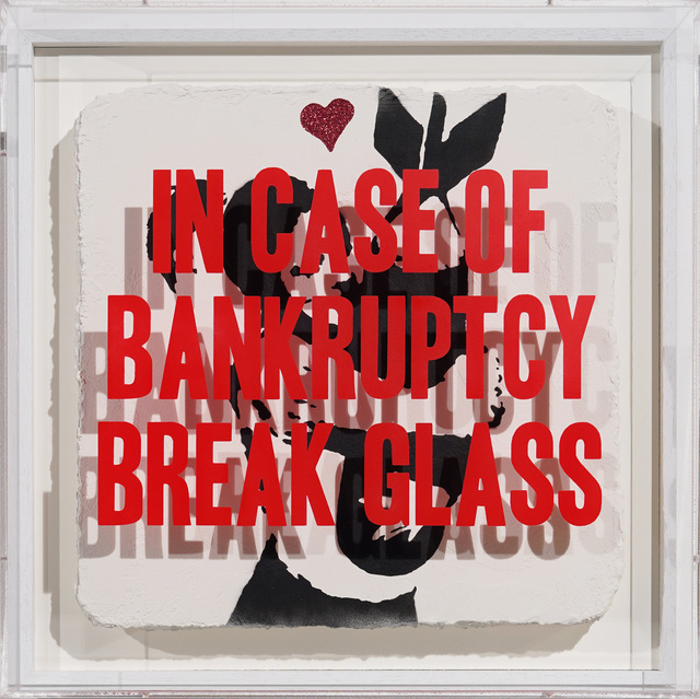 Thirsty Bstrd, 'In Case of Bankruptcy - Banksy Bomb Hugger Red Glitter', 2020, Painting, Mixed media spray paint on plaster and plexiglas box, Bel-Air Fine Art