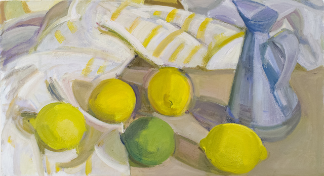 , 'Lemons, Lime and Oil Can and Striped Cloth,' 2017, BCK Fine Arts Gallery at Montauk