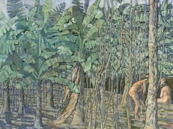 Plantación con dos figuras