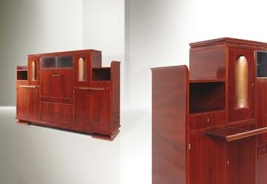 a large sideboard from the Domus Nova series with a wooden structure and brass elements