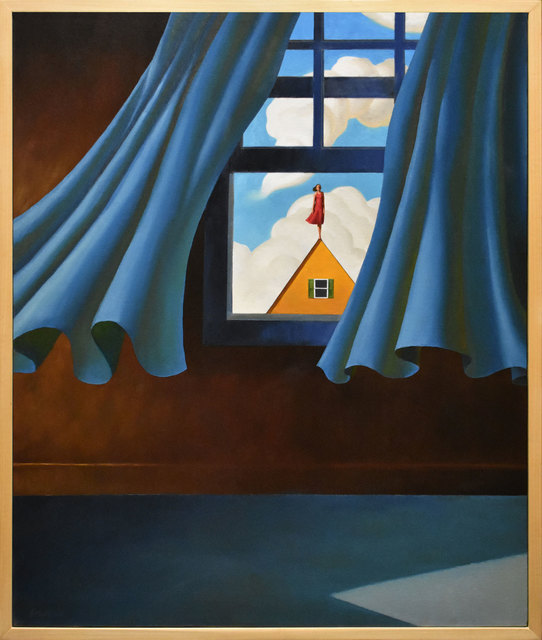 , 'Blue Curtains, Yellow House,' 2018, ARCADIA CONTEMPORARY