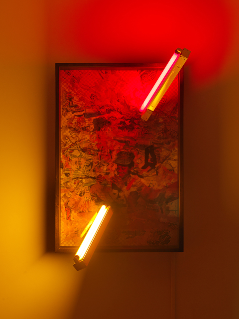 Jibade-Khalil Huffman, 'Untitled (Proof)', 2020, Mixed Media, Transparencies in lightbox, fluorescent fixtures, fluorescent tubes with color tinting, Magenta Plains
