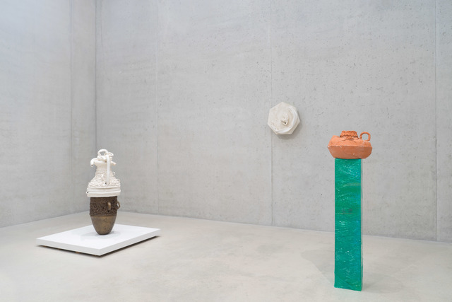 , 'From left to right: Panel #1 and #2, 2014; Earth Pot #6, 2014; RED POT, 2014,' , Pérez Art Museum Miami (PAMM)