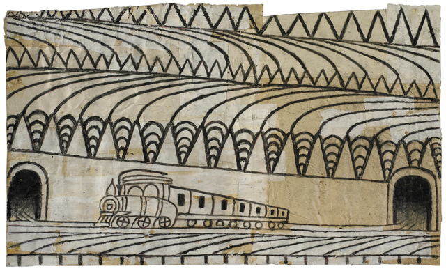 Martín Ramírez, 'Untitled (Triangle Landscape with Train)', c. 1960-63, Robert Berman Gallery