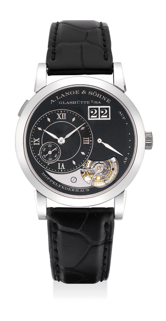 A. Lange & Söhne, 'An extremely fine and vary rare limited edition platinum tourbillon wristwatch with black enamel dial, date, hacking mechanism with guarantee and fitted presentation box, numbered 18 of a limited edition of 20 pieces', 2014, Phillips