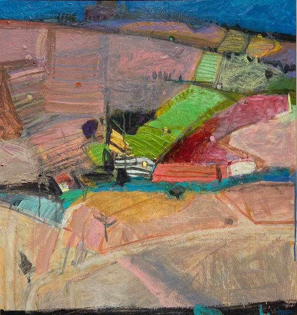 John Brown, 'Patchwork of Vineyards - Collioure', ca. 2018, Painting, Acrylic and Collage, Tatha Gallery